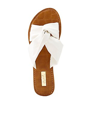 Qupid Knotted Slide Sandals