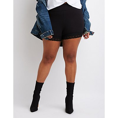 Plus Size High-Rise Lace Bike Shorts