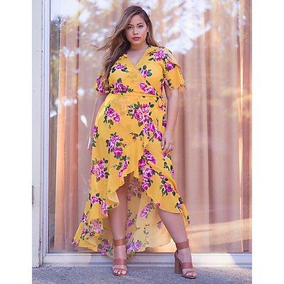 Plus Size Floral Wrap Maxi Dress