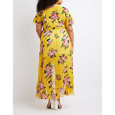 Plus Size Floral Wrap Maxi Dress