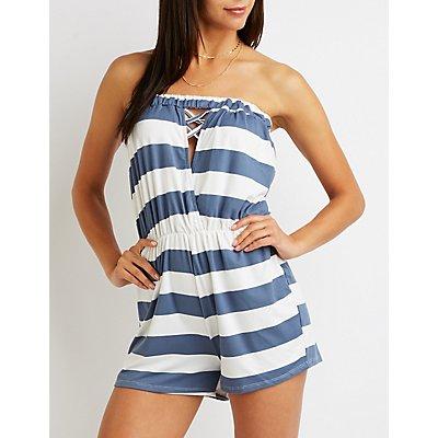 Striped Strapless Romper