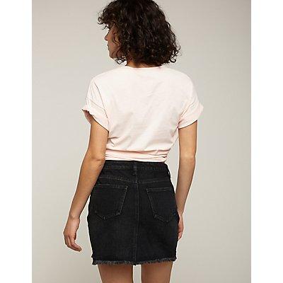 Refuge Frayed Hem Denim Skirt