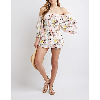 Floral Smocked Off The Shoulder Romper