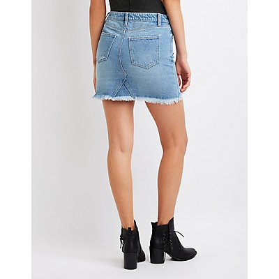Refuge Destroyed Studded Denim Skirt