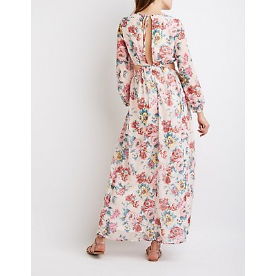 Floral Cut-Out Maxi Dress