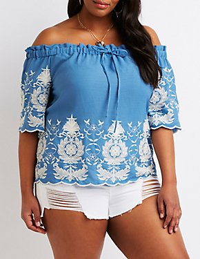 Plus Size Chambray Embroidered Off-The-Shoulder Top