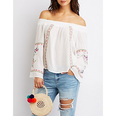Floral Off-The-Shoulder Smocked Top