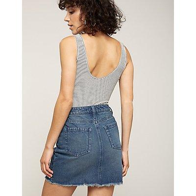 Refuge Lace Up Denim Skirt