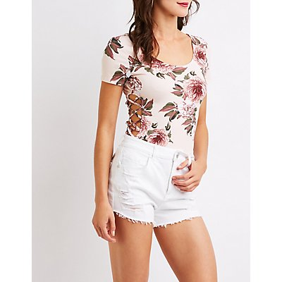 Floral Caged Side Bodysuit