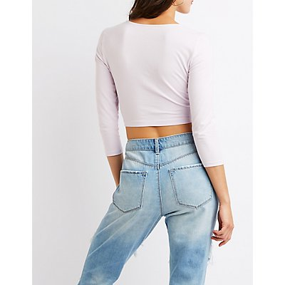 Knotted Cut Out Crop Top