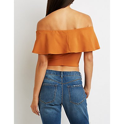 Ruffle Off-The-Shoulder Crop Top
