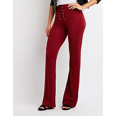 Lace Up Flare Pants
