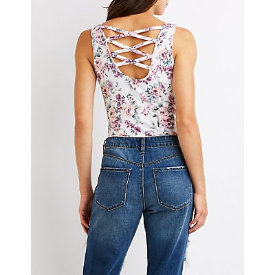 Floral Caged Back Bodysuit