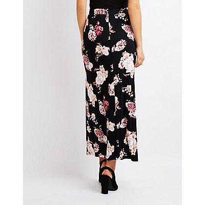 Floral Side Slit Maxi Skirt