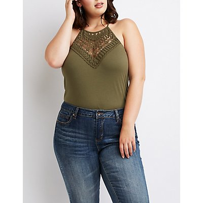 Plus Size Crochet Bib Neck Top