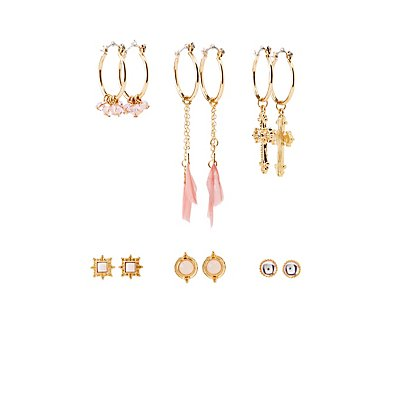 Bead & Crystal Embellished Earrings - 6 Pack