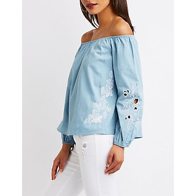 Eyelet Off-The-Shoulder Top