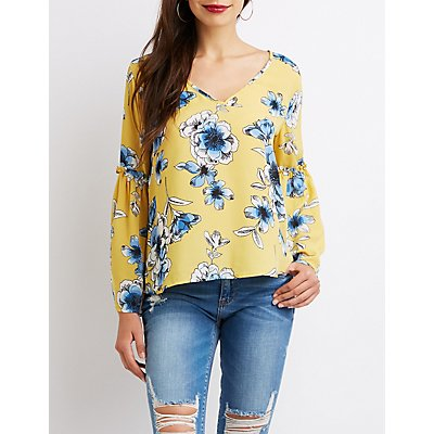 Floral Bell Sleeve Tie-Back Top