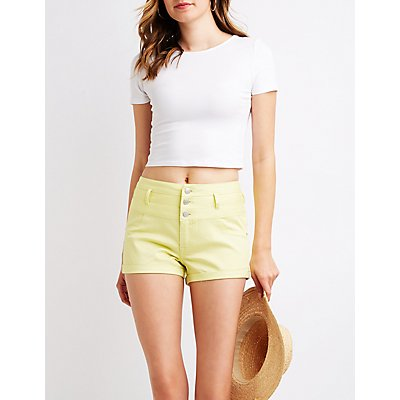 Refuge High Waist Shortie Shorts
