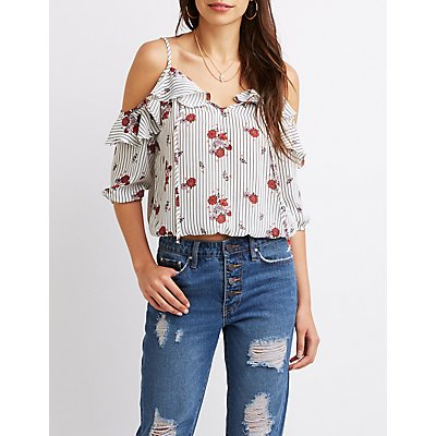 Floral & Striped Ruffle-Trim Cold Shoulder Top