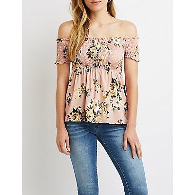 Floral Off-The-Shoulder Smocked Top