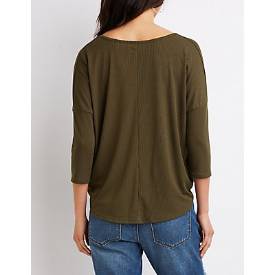 Ribbed Twist-Front Top