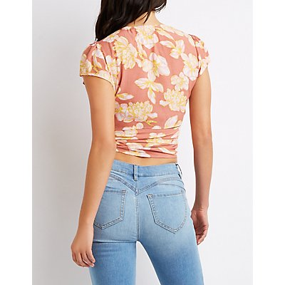 Floral Wrap Crop Top