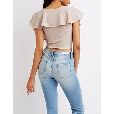 Glittered Lurex Flutter Sleeve Crop Top