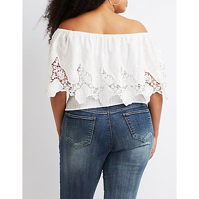Plus Size Eyelet Off-The-Shoulder Top