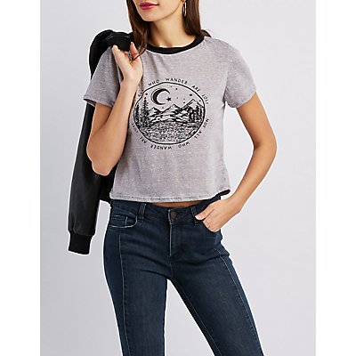 Mountain Graphic Ringer Skimmer Tee