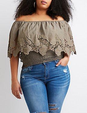 Plus Size Off-The-Shoulder Smocked Top
