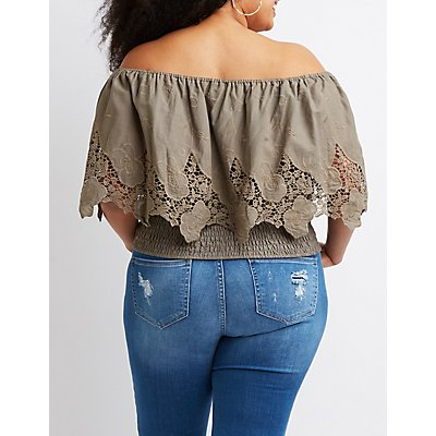 Plus Size Off-The-Shoulder Smocked Top