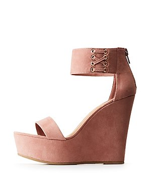 Bamboo Lace Up Ankle Strap Wedges
