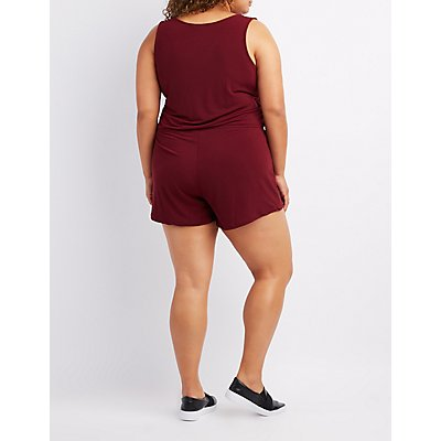 Plus Size Zip-Up Sleeveless Romper
