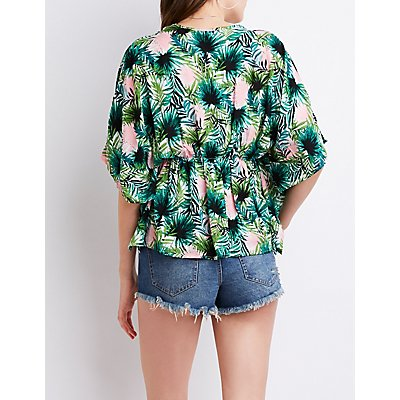 Tropical Print Tie Front Top