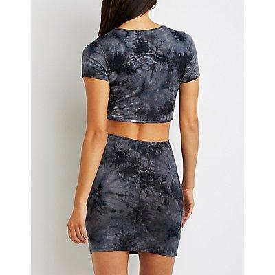 Tie Dye Cut-Out Bodycon Dress