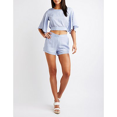Striped Flat Front Shorts