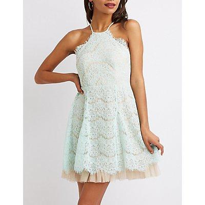 Scalloped Lace Skater Dress