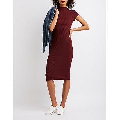 Mock Neck Bodycon Midi Dress