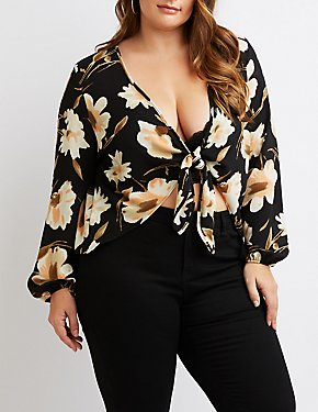 Plus Size Floral Tie-Front Top