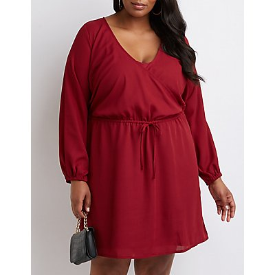 Plus Size Keyhole Wrap Dress