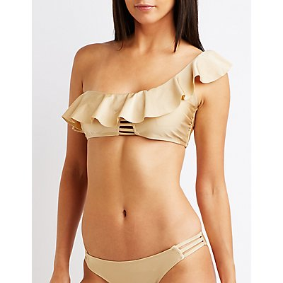 Ruffle One Shoulder Bikini Top