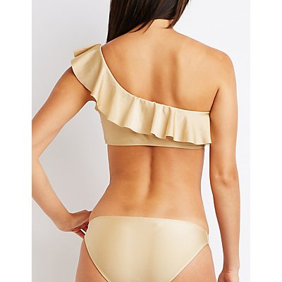 Ruffle One Shoulder Bikini Top