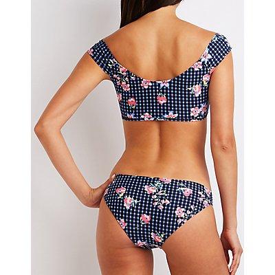 Floral Gingham Bikini Top