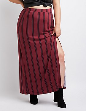 Plus Size Striped Side-Slit Maxi Skirt