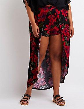 Plus Size Floral Wrap Maxi Skirt