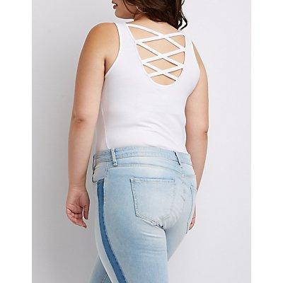 Plus Size Lattice Back Bodysuit