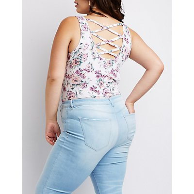 Plus Size Floral Lattice Back Bodysuit