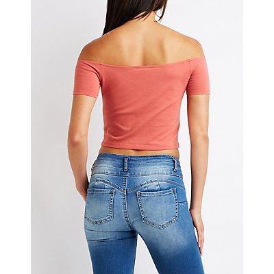 Lace Up Off The Shoulder Crop Top