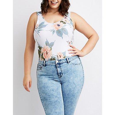 Plus Size Floral Scoop Neck Bodysuit